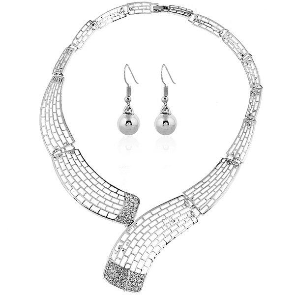 Rhinestone Alloy Necklace and Bead Earrings rhinestone bead pendant necklace and earrings