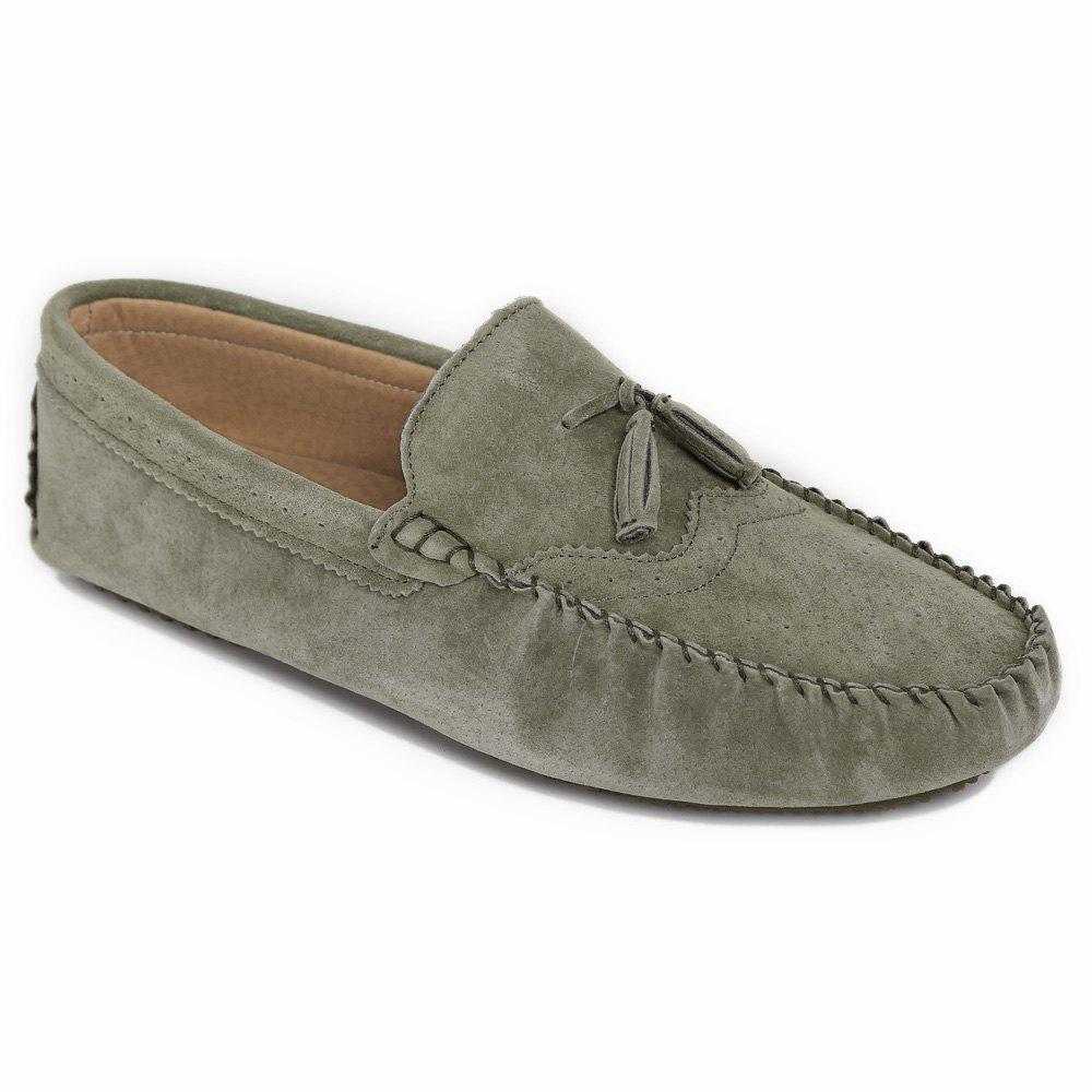 Retro Tassel And Engraving Design Mens Loafers KHAKI In
