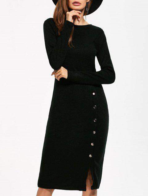 Button Detailed Long Sleeve Midi Dress - BLACK S