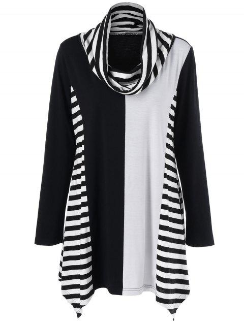 Cowl Neck Striped Trim Asymmetrical T-Shirt - BLACK/GREY 4XL