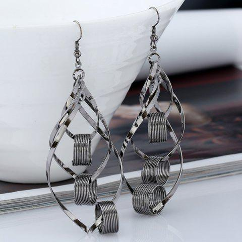 Leaf Hollow Out Circle Earrings - BLACK