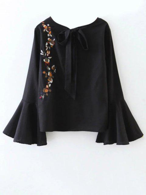 Flare Sleeve Floral Tied Blouse - BLACK S