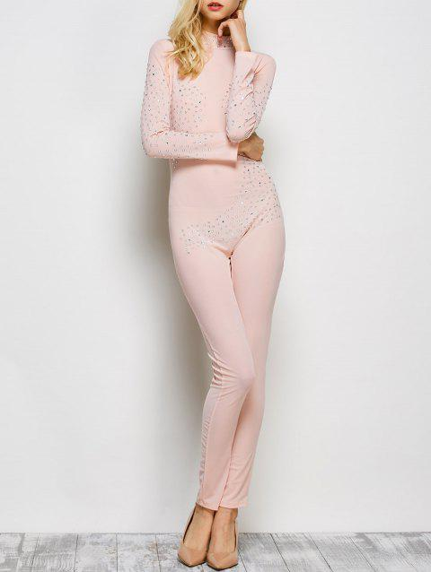 0327f7a81e8 2019 Rhinestone Embellished Semi Sheer One-Piece Jumpsuit In PINK XL ...