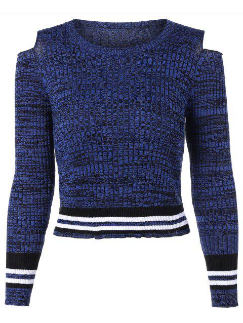 Crew Neck Heathered Cropped Cold Shoulder Sweater - ROYAL M