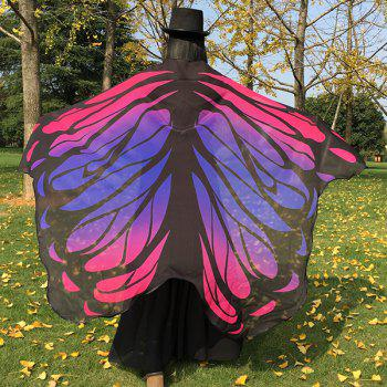Gradient Color Chiffon Butterfly Wing Cape Pashmina