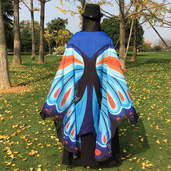 Printed Chiffon Butterfly Wing Cape - CLOUDY