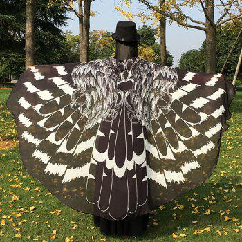Feather Printed Chiffon Butterfly Wing Cape
