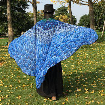 Chiffon Feather Printed Peacock Tail Cape - BLUE