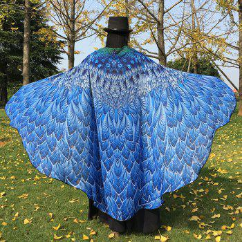Chiffon Feather Printed Peacock Tail Cape