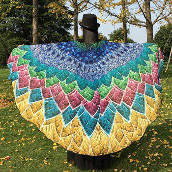 Multicolor Chiffon Feather Printed Peacock Tail Cape