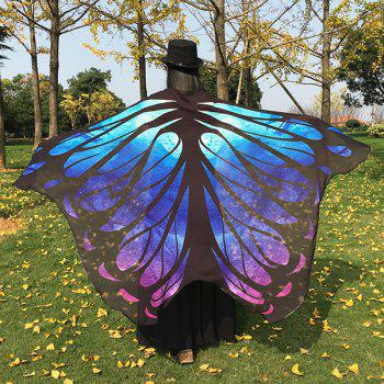 Cape imitation papillon en mousseline de soie motif galaxie