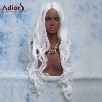 Long Centre Parting Wavy Cosplay Synthetic Wig - WHITE
