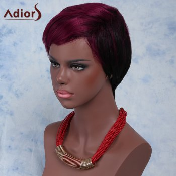 Stylish Women's Red Mixed Black Short Fluffy Capless Straight Full Bang Synthetic Wig - COLORMIX