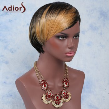 Women's Short Side Bang Mixed Color Outstanding Synthetic Hair Wig - COLORMIX