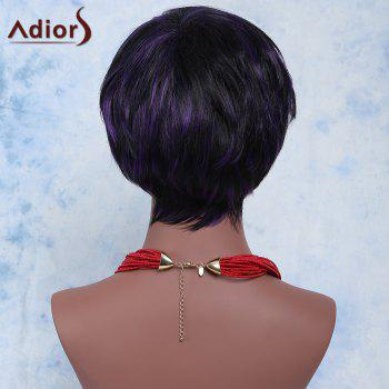 Women's Fashion Adiors Mixed Color Short Shaggy Full Bang Synthetic Hair Wig - COLORMIX
