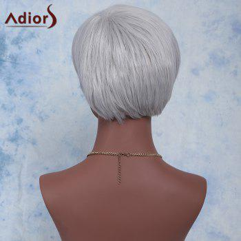 Attractive Straight Side Bang Capless Silvery Gray Short Synthetic Adiors Wig For Women - SILVER GRAY