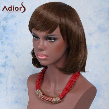 Sweet Brown Natural Wave Capless Short Haircut Synthetic Adiors Wig For Women - BROWN