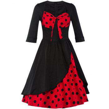 Polka Dot Overlay Tea Length Vintage Dress