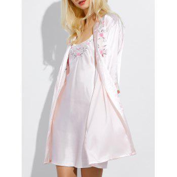 Cami Embroidered Babydoll and Fitting Wrap Robe