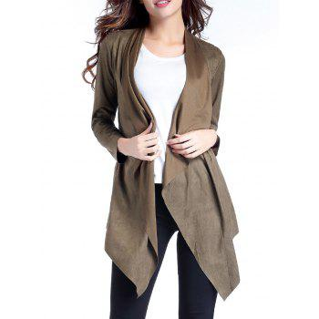 Sueded Asymmetric Drape Coat
