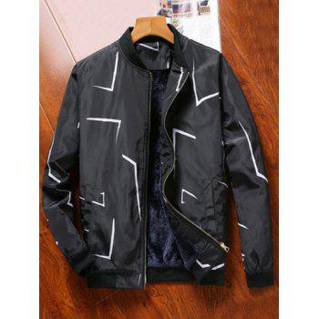 Plush Lining Printed Zip Up Jacket - BLACK M