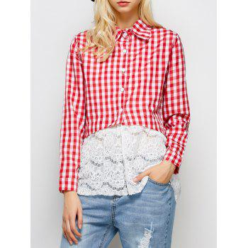 Lace Panel Button Up Plaid Shirt