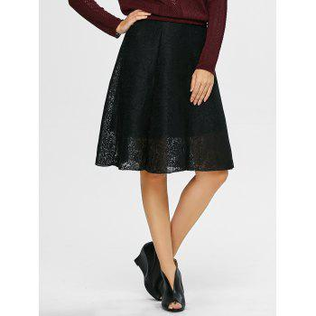 A Line Lace Knee Length Skirt