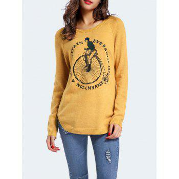 Graphic Embroidered Sweater With Curved Hem