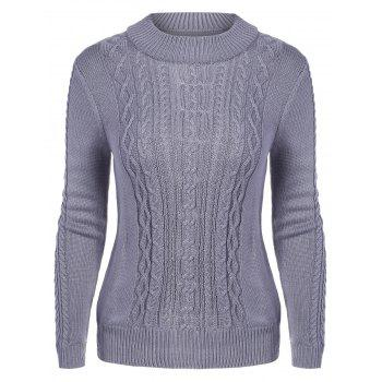 Mock Neck Cable Knit Chunky Sweater