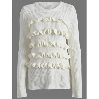 Ruffles Crew Neck Ribbed Sweater