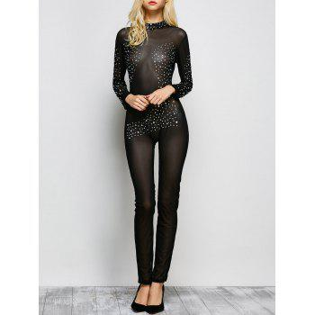 Rhinestone Embellished Semi Sheer One-Piece Jumpsuit