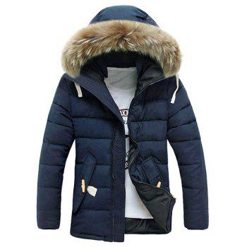 Faux Fur Hooded Button Pocket Zip Up Quilted Coat - BLUE M
