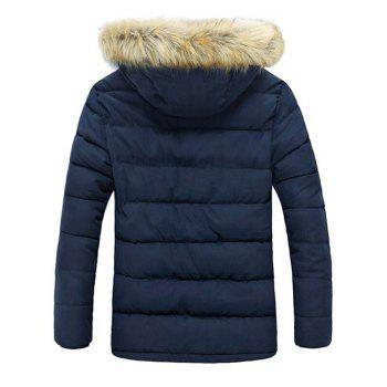 Capuche en fausse fourrure Bouton Pocket Zip Coat Up Quilted - Bleu M
