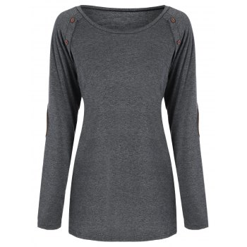 Raglan Sleeve Elbow Patch Buttoned Tee