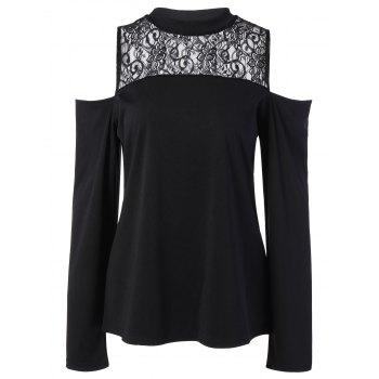 Lace Insert Cold Shoulder Tee