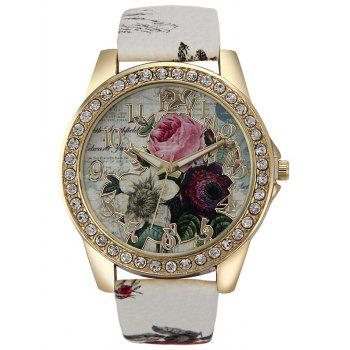 Faux Leather Rhinestone Rose Quartz Watch