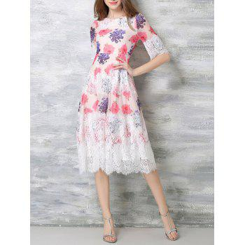 Floral Print Lace Inset Midi Dress