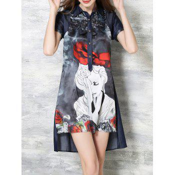 Character Print High Low Dress