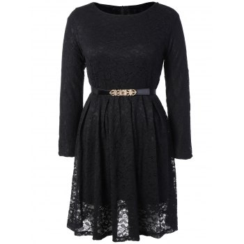Long Sleeve A Line Lace Dress