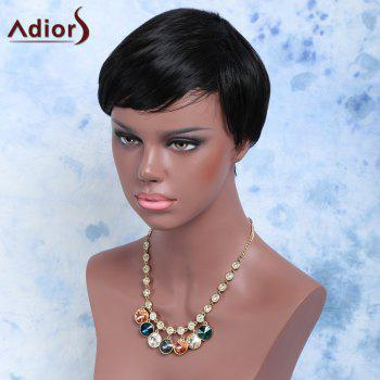 Handsome Short Capless Straight Side Bang Synthetic Wig - DEEP BROWN