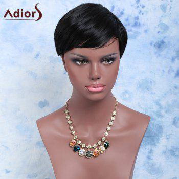 Handsome Short Capless Straight Side Bang Synthetic Wig
