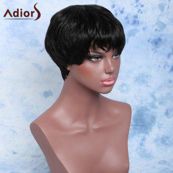 Short Capless Handsome Straight Full Bang Synthetic Wig - BLACK