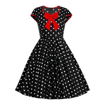 Bowknot Polka Dot Full Dress
