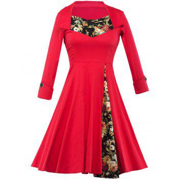 Long Sleeve Floral Tea Length Vintage Dress