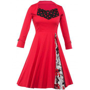 Floral and Polka Dot Tea Length Vintage Dress