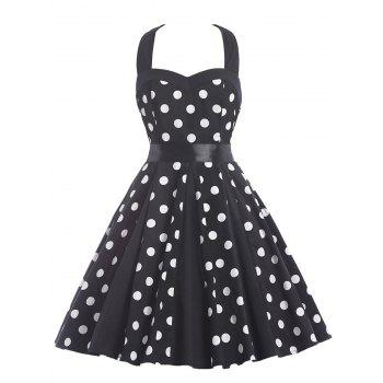 Halter Polka Dot Knee Length Dress