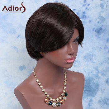 Double Color Straight Short Side Bang Synthetic Wig - BLACK/BROWN