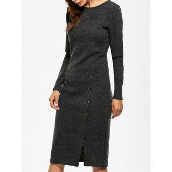 Button Detailed Long Sleeve Midi Dress