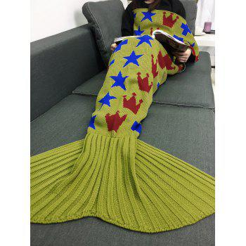 Stars Crown Pattern Bedroom Knitted Mermaid Blanket Throw