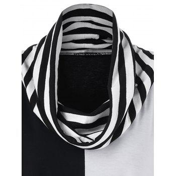 Cowl Neck Striped Trim Asymmetrical T-Shirt - BLACK/GREY XL